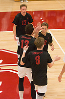 STANFORD, CA - January 2, 2018: Russell Dervay, Kevin Rakestraw, Leo Henken at Burnham Pavilion. The Stanford Cardinal defeated the Calgary Dinos 3-1.