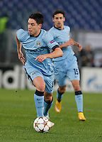 Manchester City's Samir Nastri  during the Champions League Group E soccer match between As Roma and Manchester City  at the Olympic Stadium in Rome December 10 , 2014.