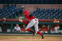 AZL Angels designated hitter Jordon Adell (25) bats during a game against the AZL Giants on July 10, 2017 at Scottsdale Stadium in Scottsdale, Arizona. AZL Giants defeated the AZL Angels 3-2. (Zachary Lucy/Four Seam Images)