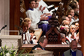 Former President George Bush walks back to his seat after speaking during the State Funeral of his father, former President George H.W. Bush, at the National Cathedral, Wednesday, Dec. 5, 2018,  in Washington.<br /> Credit: Andrew Harnik / Pool via CNP