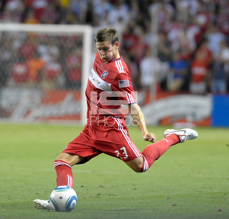Chicago defender Krzysztof Krol (23) kicks the ball.  The Chicago Fire tied the New York Red Bulls 0-0 at Toyota Park in Bridgeview, IL on August 8, 2010