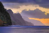 Sunset over Na Pali coastline, Kaua'i.
