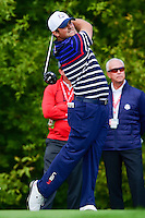 Patrick Reed (USA) watches his tee shot on 10 during the practice round at the Ryder Cup, Hazeltine National Golf Club, Chaska, Minnesota, USA.  9/29/2016<br /> Picture: Golffile | Ken Murray<br /> <br /> <br /> All photo usage must carry mandatory copyright credit (&copy; Golffile | Ken Murray)