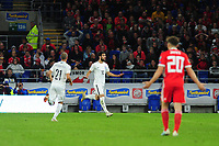 Mahir Emreli of Azerbaijan celebrates scoring his side's equalising goal to make the score 1-1 during the UEFA Euro 2020 Qualifier match between Wales and Azerbaijan at the Cardiff City Stadium in Cardiff, Wales, UK. Friday 06, September 2019