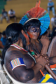 Altamira, Brazil. Encontro Xingu protest meeting about the proposed Belo Monte hydroeletric dam and other dams on the Xingu river and its tributaries. Kayapo from Aukre.