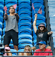 5th January 2020; RAC Arena, Perth, Western Australia; ATP Cup Australia, Perth, Day 3; Russia versus USA; fans of Team USA wave flags in support - Editorial Use