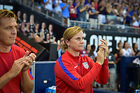 Kansas City, KS. - July 22, 2016: The U.S. Women's National team go up 3-0 over Costa Rica in second half play during a friendly match in preparation for the Olympics at Children's Mercy Park.