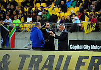 Commentators Matt Buck, Scotty Stevenson and Ken Laban chat before the Super Rugby match between the Hurricanes and Sharks at Westpac Stadium, Wellington, New Zealand on Saturday, 9 May 2015. Photo: Dave Lintott / lintottphoto.co.nz