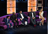 """BEVERLY HILLS - SEPTEMBER 7: Ken Jeong, Chris Redd, Jeff Ross, Blake Griffin, and Nikki Glaser appear onstage at the """"Comedy Central Roast of Alec Baldwin"""" at the Saban Theatre on September 7, 2019 in Beverly Hills, California. (Photo by Frank Micelotta/PictureGroup)"""