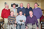 CLUB; The Lixnaw Golfing Society club who had their gamne of golf at Beaufort on Saturday and on Saturday night at the Railway bar Lixnaw the prizes were presented to the winners by Capt of the Club, Capt PJ McAuliffe, Garry Horgan (winner 42pts) and Tom Lynch (Presidents) . Back l-r: Michael Fuller, Eddie Hannifin, Gerry Fuller,Roger Hussey, and Con O'Keeffe....