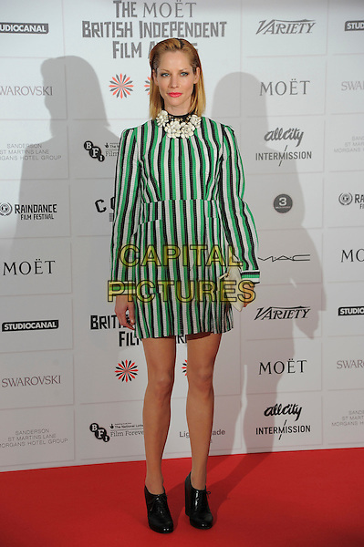 Sienna Guillory.Independent Film Awards, Old Billingsgate Market, London, England..December 9th, 2012.full length black white green striped stripes dress shoes long sleeves  pearl collar .CAP/CAS.©Bob Cass/Capital Pictures.