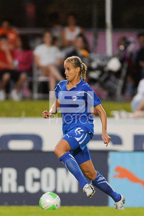 Leslie Osborne (12) of the Boston Breakers. Sky Blue FC and the Boston Breakers played to a 0-0 tie during a Women's Professional Soccer (WPS) match at Yurcak Field in Piscataway, NJ, on May 29, 2010.