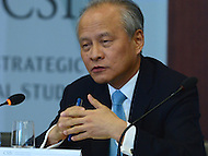 Washington, DC - July 12, 2016: Cui Tiankai, Ambassador of the People's Republic of China to the U.S., speaks at a public discussion on China's interest in the South China Sea at the Center for Strategic and International Studies in the District of Columbia, July 12, 2016  (Photo by Don Baxter/Media Images International)