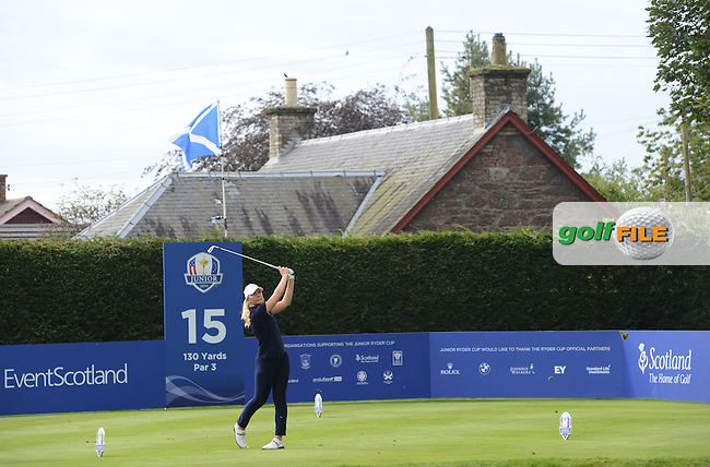 Linnea Strom of Europe tees off during the Junior Ryder Cup at the Blairgowrie Golf Club on 23rd September 2014.<br /> Picture Richard Martin-Roberts www.golffile.ie