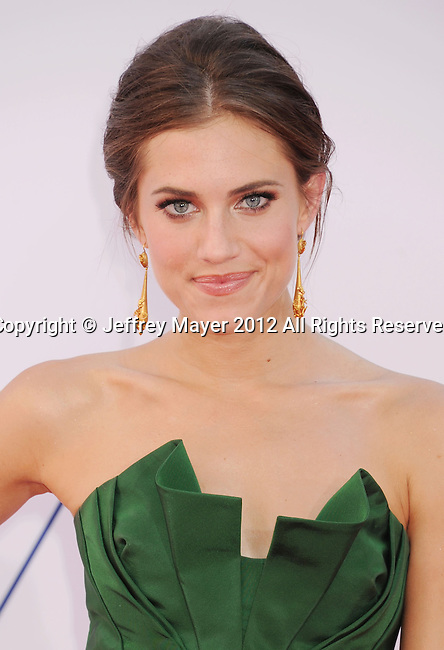 LOS ANGELES, CA - SEPTEMBER 23: Allison Williams arrives at the 64th Primetime Emmy Awards at Nokia Theatre L.A. Live on September 23, 2012 in Los Angeles, California.