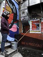 Roma, 6 Febbraio 2010 .Garbatella, centro sociale La Strada.il giorno dopo l'aggressione fascista con accoltellamento di tre giovani uscita da un concerto..Rome, 2010 6 Febbraio.Garbatella Social Center Road.the day after the fascist aggression with stabbing of three young leaving a concert..