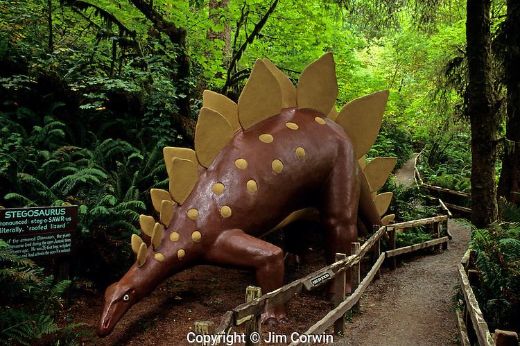 Prehistoric Gardens along the Oregon coast Stegosaurus along tour trail Port Orford Oregon State USA