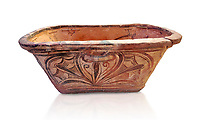 Minoan  pottery bath tub larnax decorated with a stylised crocus flower ,  Episkopi-Lerapetra 1350-1250 BC, Heraklion Archaeological  Museum, white background.<br /> <br /> To the Greeks, the Underworld was entered by water. As with many other Minoan bathtubs, this one was probably later used as a coffin to convey the deceased across the sea, where marine imagery would be equally appropriate. The two functions of bathtubs, bathing and burial, combine in the story of Agamemnon who, on return from Troy, was murdered by his wife and her lover in a silver bath.
