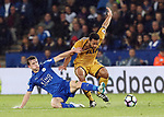 Leicester's Ben Chilwell tussles with Tottenham's Mousa Dembele during the Premier League match at the King Power Stadium, Leicester. Picture date: May 18th, 2017. Pic credit should read: David Klein/Sportimage