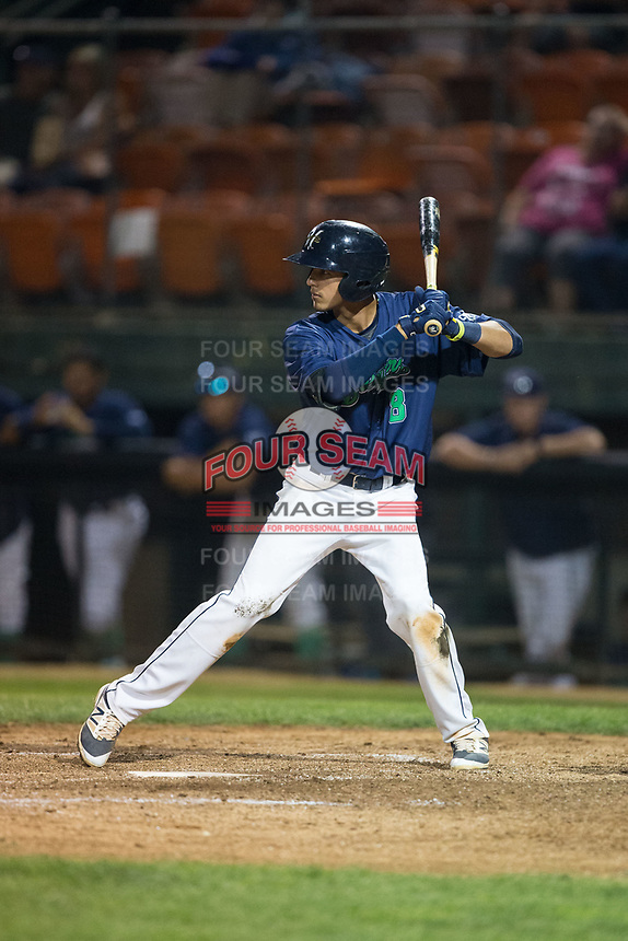 Antonio Pinero (8) of the Helena Brewers at bat against the Orem Owlz at Kindrick Legion Field on August 17, 2017 in Helena, Montana.  The Owlz defeated the Brewers 5-2.  (Brian Westerholt/Four Seam Images)