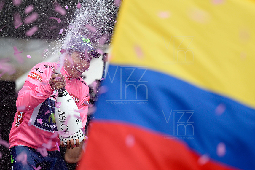 TRIESTE - ITALIA. 01-06-2014. Nairo Alexander  Quintana Rojas -Col- (Movistar) celebra como campe&oacute;n general de la versi&oacute;n 97 del Giro de Italia hoy 22 de mayo de 2014. / Nairo Alexander  Quintana Rojas -Col- (Movistar)celebrates as champion of the 97th version of Giro d'Italia today May 22th 2014 Photo: VizzorImage/ Fabio Ferrari / LaPresse<br /> VizzorImage PROVIDES THE ACCESS TO THIS PHOTOGRAPH ONLY AS A PRESS AND EDITORIAL SERVICE AND NOT IS THE OWNER OF COPYRIGHT; ANOTHER USE HAVE ADDITIONAL PERMITS AND IS  REPONSABILITY OF THE END USER