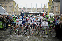 start line getting crowded<br /> <br /> 114th Paris-Roubaix 2016