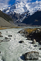 Mount cook rises above Hooker river, Hooker Valley, New Zealand