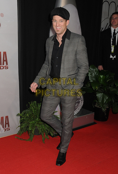 Keifer Thompson, Thompson Square.The 45th Annual CMA Awards, Country Music's Biggest Night, held at Bridgestone Arena, Nashville, Tennessee, USA..November 9th, 2011.full length black shirt grey gray suit hat.CAP/ADM/BP.©Byron Purvis/AdMedia/Capital Pictures.