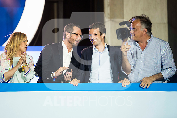 Cristina Cifuentes, Javier Marato and Pablo Casado during the celebration of the victory of the Spanish Elections at the headquarter of Partido Popular in Madrid. June 26, 2016. (ALTERPHOTOS/BorjaB.Hojas)