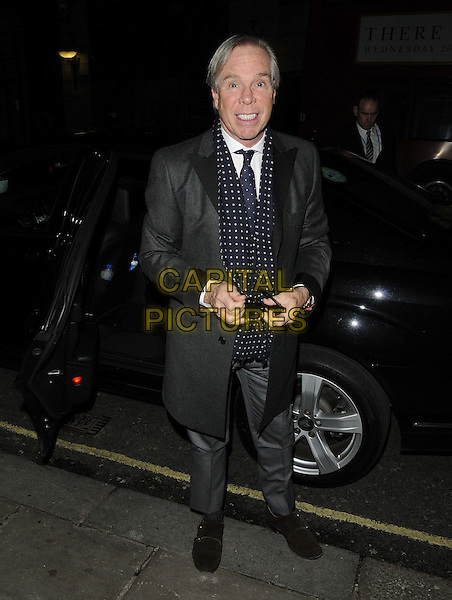 Tommy Hilfiger.The London Collections: Men GQ Dinner, Sketch bar & restaurant, Conduit St., London, England..January 9th, 2013.full length black jacket grey gray blue white polka dot scarf suit car.CAP/CAN.©Can Nguyen/Capital Pictures.