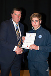St Johnstone FC Academy Awards Night...06.04.15  Perth Concert Hall<br /> Tommy Wright presents a certificate to Shaun Struthers<br /> Picture by Graeme Hart.<br /> Copyright Perthshire Picture Agency<br /> Tel: 01738 623350  Mobile: 07990 594431