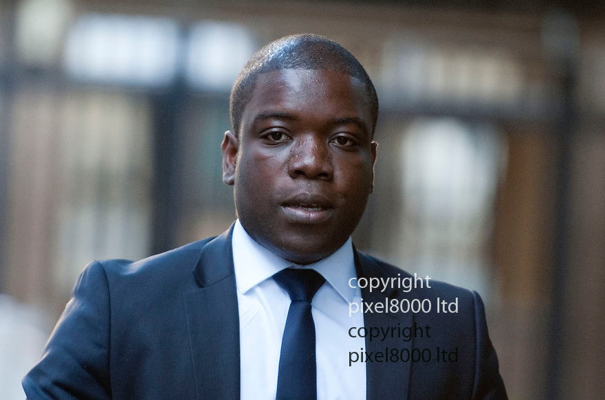 Kweku (aka Kwaku) Adoboli arrives at Southwark Crown Court today .Former UBS trader is on fraud charges running into  billions of pounds. Mr Adoboli who is accused of ?fraudulently gambling? away $2.3bn from the Swiss bank. Mr Adoboli denies two charges of false accounting and two charges of fraud by abuse of position.....Pic by Gavin Rodgers/Pixel 8000 Ltd   25.9.12