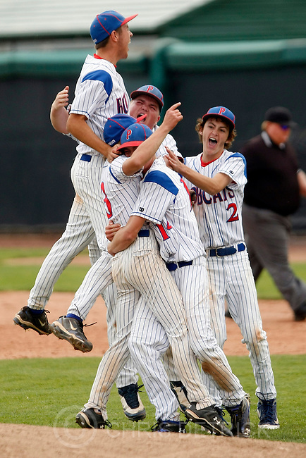 Chris Detrick  |  The Salt Lake Tribune.Panguitch's Tyce Barney (11) Tyler Brinkerhoff (21) Brandon Birch (3) Dalan Bennett (14) and Kaden Figgins (2) celebrate after winning the 1A baseball championships at Brent Brown Ballpark at Utah Valley University Tuesday October 11, 2011.  Panguitch defeated Wayne 10-1.