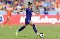 Houston, TX - Saturday June 17, 2017: Ali Krieger brings the ball up the field during a regular season National Women's Soccer League (NWSL) match between the Houston Dash and the Orlando Pride at BBVA Compass Stadium.