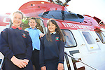 Fia Henry, Conor KElly and Molly Byrne pictured during the visit of the Irish Coast Guard Helicopter from Dublin Airport with members of the Irish Coast Guard Drogheda at Whitecross national school in Julianstown Co Meath.<br /> Picture:  Fran Caffrey / www.newsfile.ie
