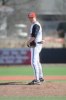 Rutgers University Scarlet Knights pitcher Jon Young (33) during game game 1 of a double header against the University of Houston Cougers at Bainton Field on April 5, 2014 in Piscataway, New Jersey. Rutgers defeated Houston 7-3.      <br />  (Tomasso DeRosa/ Four Seam Images)