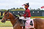 HOT SPRINGS, AR - APRIL 13:  Apple Blossom Handicap at Oaklawn Park on April 13, 2018 in Hot Springs, Arkansas. #4 Beach Flower with jockey Ramon A. Vazquez.  (Photo by Ted McClenning/Eclipse Sportswire/Getty Images)