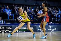 Pulse captain Katrina Grant looks for support as Kimiora Poi during the ANZ Premiership netball match between the Central Pulse and Mainland Tactix at TSB Bank Arena in Wellington, New Zealand on Monday, 14 May 2018. Photo: Mike Moran / lintottphoto.co.nz