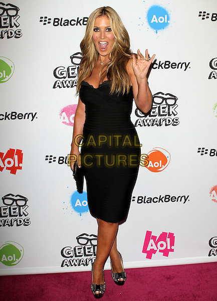 JILLIAN BARBERIE.The 2010 AOL Geek Awards held at The Conga Room, Los Angeles, CA, USA. .August 18th, 2010.full length dress strapless lace mouth open hand waving .CAP/ADM/FS.©Faye Sadou/AdMedia/Capital Pictures.