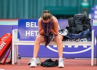 Wateringen, The Netherlands, December 8,  2019, De Rhijenhof , NOJK juniors 14 and18 years, Finals girls 18 years: Anouk Koevermans (NED) is sad after having to give up the match due to injury<br /> Photo: www.tennisimages.com/Henk Koster