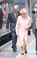 13 June 2017 - Queen Elizabeth II and Prince Philip Duke of Edinburgh at London Paddington Station, marking the 175th anniversary of the first train journey by a British monarch. The Queen and The Duke of Edinburgh traveling from Slough to London Paddington on a Great Western Railway train, recreating the historic journey made by Queen Victoria on 13th June 1842. Photo Credit: ALPR/AdMedia