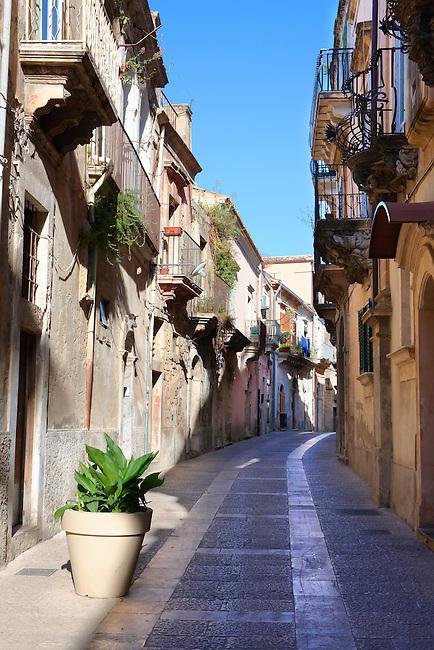 Narrow streets and lanes of Ragusa Ibla, Sicily