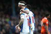 Blackburn Rovers' Adam Armstrong celebrates scoring his side's third goal <br /> <br /> Photographer Rachel Holborn/CameraSport<br /> <br /> The EFL Sky Bet League One - Blackburn Rovers v Blackpool - Saturday 10th March 2018 - Ewood Park - Blackburn<br /> <br /> World Copyright &copy; 2018 CameraSport. All rights reserved. 43 Linden Ave. Countesthorpe. Leicester. England. LE8 5PG - Tel: +44 (0) 116 277 4147 - admin@camerasport.com - www.camerasport.com