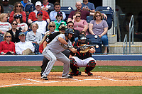 New Orleans Baby Cakes second baseman Steve Lombardozzi (4) squares around to bunt during a game against the Nashville Sounds on May 1, 2017 at First Tennessee Park in Nashville, Tennessee.  Nashville defeated New Orleans 6-4.  (Mike Janes/Four Seam Images)