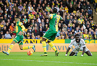 Bafetimbi Gomis of Swansea City reacts after being brought down by Sebastien Bassong of Norwich City during the Barclays Premier League match between Norwich City and Swansea City played at Carrow Road, Norwich on November 7th 2015