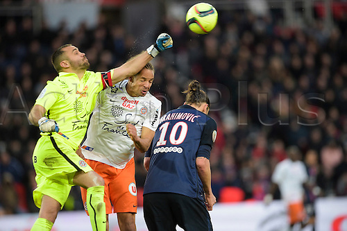 05.03.2016. Paris, France. French League 1 football. Paris St Germain versus Montpellier.  A high punch clear from CONGRE Daniel (Montpellier) over the head of Zlatan Ibrahimovic (PSG)