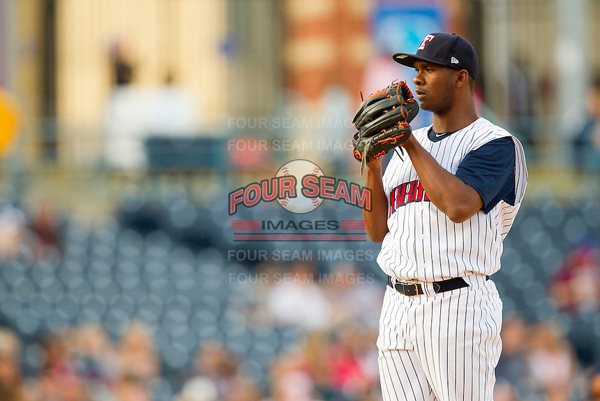 Toledo Mudhens starting pitcher Ramon Garcia (32) looks to his catcher for the sign against the Charlotte Knights at 5/3 Field on May 3, 2013 in Toledo, Ohio.  The Knights defeated the Mudhens 10-2.  (Brian Westerholt/Four Seam Images)