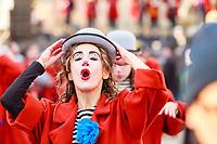 "Europe, Italy, Tuscany, Viareggio, Serena, a figure of the ""Aspettando Godot"" chiariot of Alessandro Avanzini, perform during the parade"