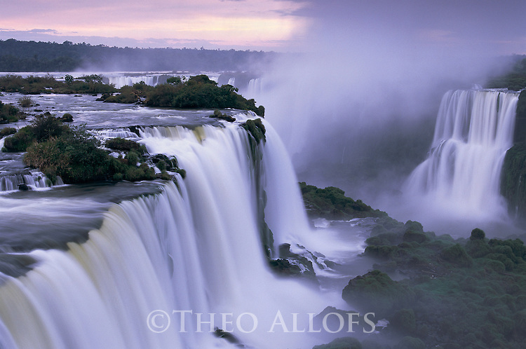 Brazil, Iguacu Falls in evening light