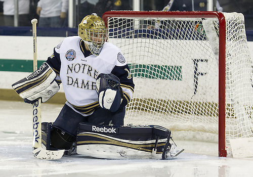 December 07, 2012:  Notre Dame goaltender Steven Summerhays (#1) during NCAA Hockey game action between the Notre Dame Fighting Irish and the Michigan State Spartans at Compton Family Ice Arena in South Bend, Indiana.  Notre Dame defeated Michigan State 3-2.
